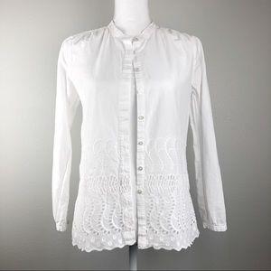 J. Crew white button down lace cutout shirt 2